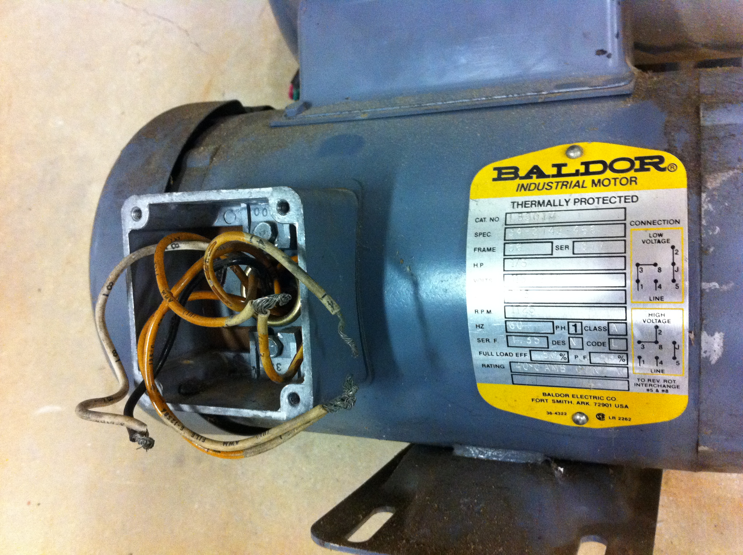 Help Wiring Baldor Motor - The Garage Journal Board on baldor wiring-diagram 56c 115 230, baldor motor wiring, baldor single phase generator wiring diagram, baldor vfd wiring-diagram, baldor brake motor schematics,